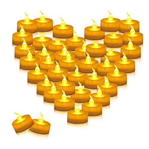 (Youngerbaby 100pcs Amber Yellow Battery Operated Tea Lights Flameless Flickering Led Tea Light for Weddings, Outdoor, Restaurants and Parties Decor Long Lasting Candles Small Tealights 100 Pack)