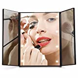 Lighted Mirror, Travel Mirror Light, Luckyfine Makeup Mirror With Magnification Trifold Touch Screen