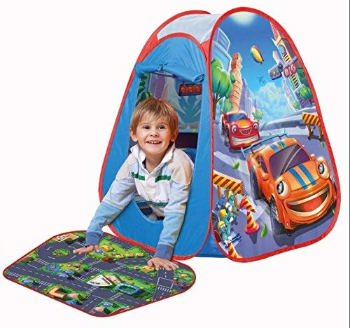 John 77025Pop Up Play Tent Street Fun 4Toy Cars Play Mat for Children Tent Game House Tent Childrens Indoor or Outdoor-Blue