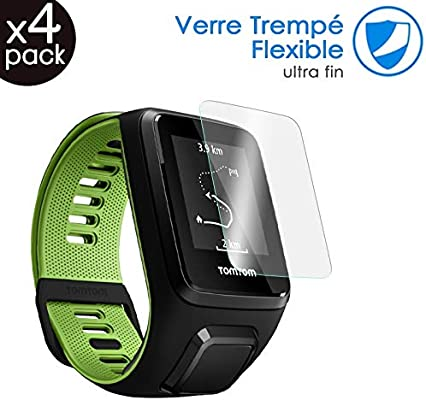 KARYLAX Protection décran Film Verre Trempé Nano Flexible Incassable Dureté 9H, Ultra Fin 0,2mm et 100% Transparent pour Montre connectée Tomtom Runner 3 ...