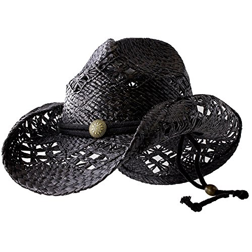 Sonoma - Deadwood Trading | Raffia Straw Cowboy Hats for Men & Women | Hit The Beach in Cowgirl Style | Cute Summer Hat w/Shapeable Brim, Metal Concho & Adjustable ()
