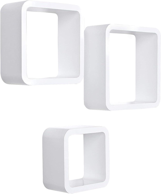 SONGMICS Estantes de Pared, Juego de 3 Estantes Flotantes de Cubo, Estantes Decorativos de Almacenamiento, para Dormitorio, Salón, Cocina, Máx. Carga 15 kg, Blanco LWS104
