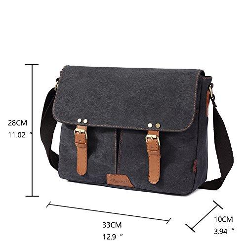 Vintage Men Messenger Bag, Kaukko Canvas Crossbody Shoulder Bags Laptop Briefcase Black by KAUKKO (Image #5)