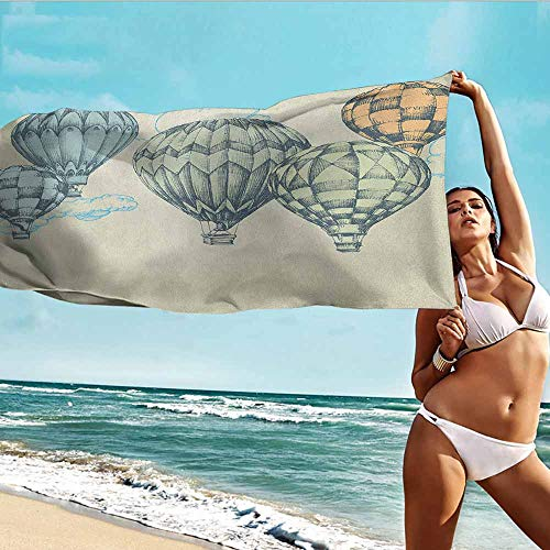 (Antonia Reed Soft Bath Towel Vintage,Hot Air Balloons in Soft Tones Fly in The Sky Air High Tourism Artful Design Print,Green Blue,Super Absorbent Microfiber Custom Shower Towel for Home 20