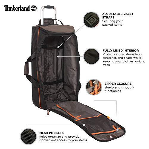 Timberland Wheeled Duffle Bag - 32 Inch Lightweight Extra Large Rolling Luggage Travel Bag Suitcase for Men, Cocoa