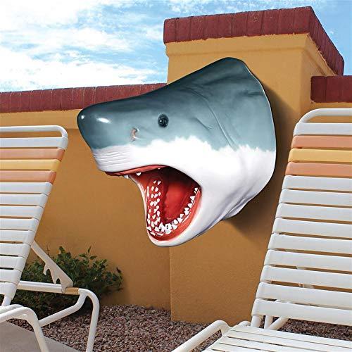 (Design Toscano White Shark Wall Mount Trophy Sculpture, 30 Inch, grey )