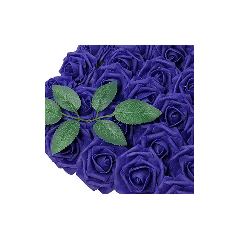 silk flower arrangements wrapables artificial rose flower, real touch flowers for diy wedding bouquets and centerpieces, indigo