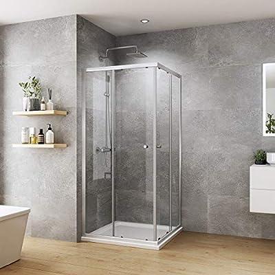 WELMAX cabina de ducha esquinera doble puerta corredera mampara de ...