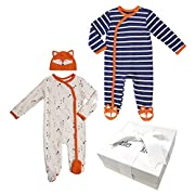 Baby Boy Gift Set – 3 Piece Fox Footie Set Unique Gift Idea for Baby Showers (0-3 Months)
