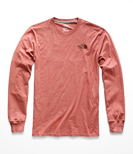 The North Face Men's L & S Red Box Tee - Faded Rose Heather & Sequoia Red - L by The North Face (Image #1)