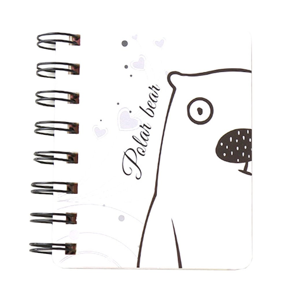 Mini Spiral Notebook Paper Blank Page Notebook Cute Animal Journal Diary Notepad Small Pocket Notebook for Children Women (I)