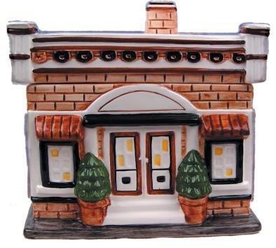 (One Story Brick House Small Ceramic Cookie Jar)