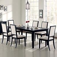 Coaster Lexton 7 Piece Rectangular Dining Set, Black