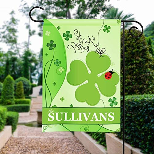 Yilooom Lucky Irish Ladybug Shamrock St. Patricks Day Personalized Garden Flag Yard Sign Banner Decor Decoration Custom Flag with Family Last Name: Amazon.es: Jardín