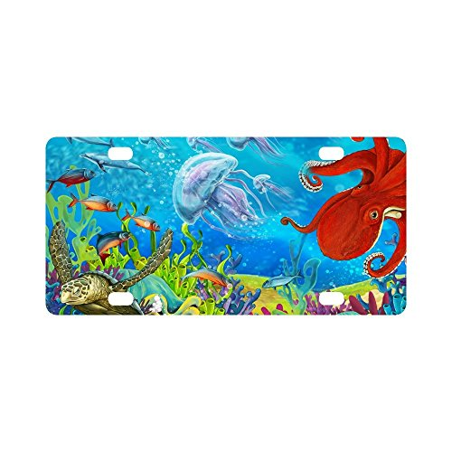 Reef License Plate - INTERESTPRINT Dolphins Jellyfish Sea Turtle Octopus Coral Reef Automotive Metal License Plates Decor Decoration, Car Tag for Woman Man - 12 x 6 Inch