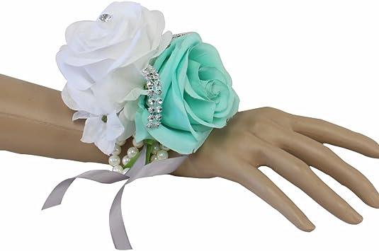 Artificial white wrist corsage