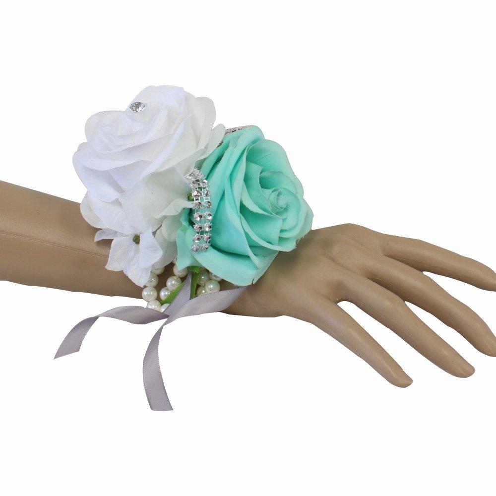 Angel Isabella Wrist Corsage-Beautiful handmade wrist corsage keepsake artificial roses 40+colors (White/Spa(Aqua Green))