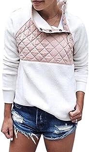 Womens Pullover Sweatshirt Fleece Fuzzy Color Block Tie Dye Button Casual Sherpa Sweater Coats with Pockets