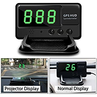 Discount VJOYCAR C60 Universal Hud Heads Up Display Car GPS Speedometers Digital Speed Projector Windshield Projection Film Over Speedo Alarm for Cars & Other Vehicles
