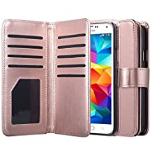 Samsung Galaxy S5 Case, S5 Neo Wallet Jwest Premium Leather Folio Case [Wallet Function] Magnetic Fashion Wristlet Lanyard Hand Strap Purse Soft Flip Book Style Multiple Card Slots Cash Compartment Pocket with Magnetic Closure Case Cover Skin for Samsung Galaxy S5 / S5 Neo - Rose Gold