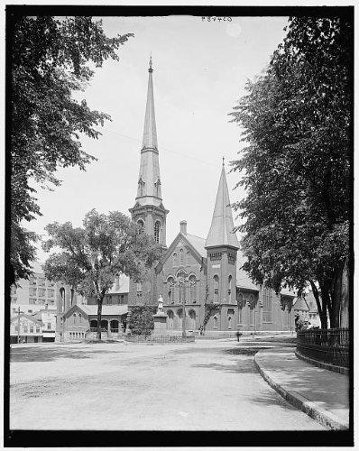 Photo: First Baptist Church,religious buildings,North Adams,Massachusetts,MA,1900