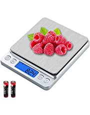 UNIWEIGH Digital Kitchen Scale,3kg/0.1g Pocket Food Scale Measure in Grams and oz for Loss Weight,Cooking Baking,Jewelry,High Precision Gram Scale with 6 Units,Small Coffee Scale with 2 Trays,LCD,Tare