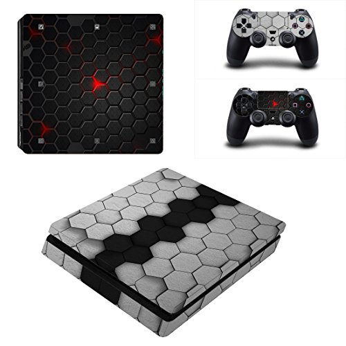 Chickwin PS4 Slim Vinyl Skin Full Body Cover Sticker Decal For Sony Playstation 4 Slim Console & 2 Dualshock Controller Skins (Black-Grey - Uk Wills Voucher Jack