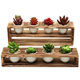 MyGift Rustic Burnt Wood Tiered Succulent Planter