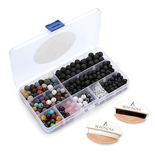 BEADNOVA 350pcs Lava Stone Gemstone Round Loose Beads Assort