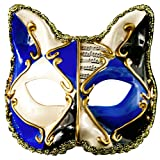 ANJUY Women Checkered Cat Mask Venetian Halloween Mardi Gras Party Mask