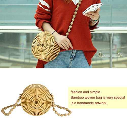 para de el Bolso hacia las sólido Formulaone ir ahueca redondo mujeres hombro bambú ocasional tejido color compras de fuera crossbody del de Bolso de 4qw7R8U
