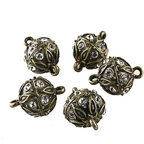 BEADNOVA 5 Pcs Bling Rhinestone Pave Ball Magnetic Beads Clasp Strong Jewelry Clasps Findings for Bracelet Necklace Jewelry Making (Antique Bronze) (Ball Pave Clasp)