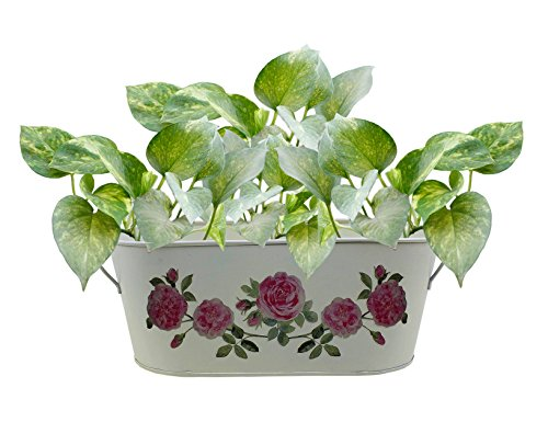 12 Inches Hand-Painted Decorative Metal Planter Stand Flower Pot for Home Indoor Outdoor Garden