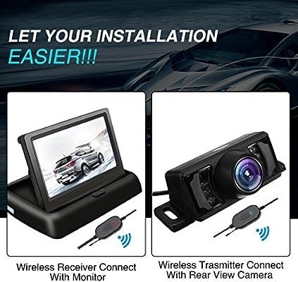 Foldable 4.3 Color HD LCD Monitor Parking TVIRD Backup Camera and Monitor Wireless 12V Car Rear View System Night Vision IR Reversing Rear View Camera