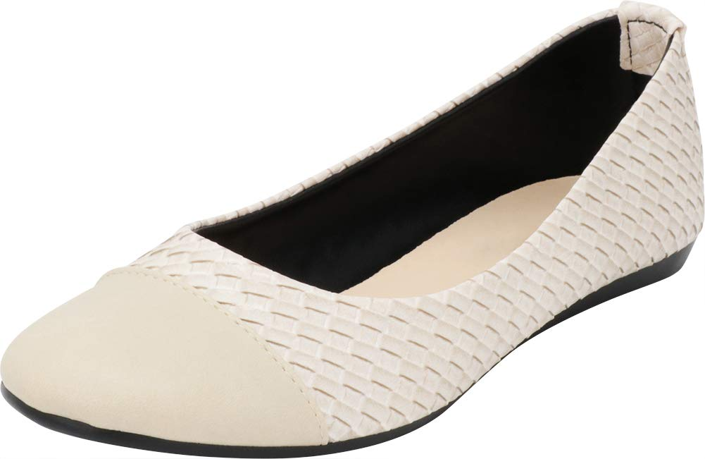 Cambridge Select Women's Closed Round Cap Toe Woven Comfort Ballet Flat,8 B(M) US,Ivory PU