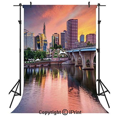 United States Photography Backdrops,Water Reflection in Evening Urban City Hartford Connecticut Tranquil Sunset Decorative,Birthday Party Seamless Photo Studio Booth Background Banner 3x5ft,Multicolor