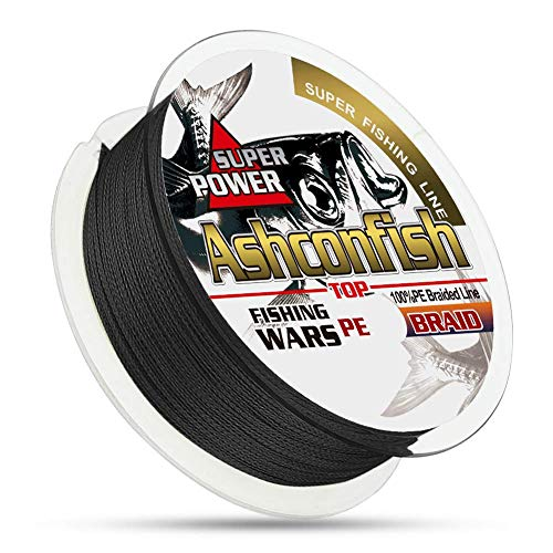 Ashconfish Braided Fishing Line - Real Color Fastness - 8 Strand 300M -6lb 8lb to 300lb - Abrasion Resistant Braid Lines - Incredible Superline - Zero Stretch - Smaller Diameter - 30LB - Black
