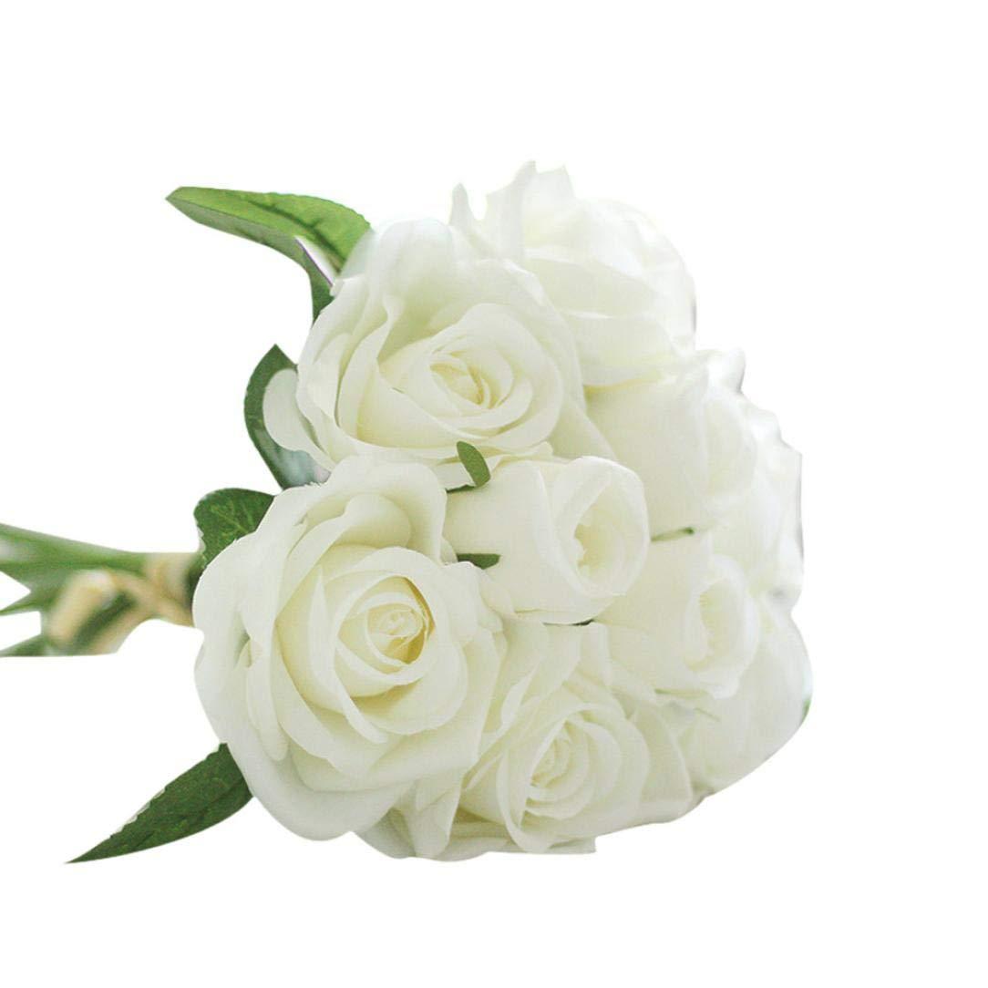 Bokeley 造花 9本 花植物 シルク 造花 葉 ローズ ウェディング ブーケ アレンジメント ホームデコレーション 75cm ホワイト BK-1 B07GBR7NK5 ホワイト