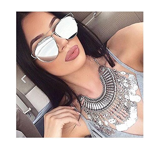 VIVIENFANG Technologic Flat Lens Mirrored Aviator Sunglasses Cateye Sunglasses 86472C Silver - Sunglasses Mirrored Oversized Aviator