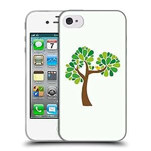 Super Galaxy Coque de Protection TPU Silicone Case pour // V00000723 El árbol Y pájaro de la historieta // Apple iPhone 4 4S 4G
