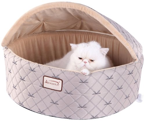 armarkat-cat-bed-medium-pale-silver-and-beige