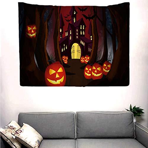 Pink Floyd Halloween Pumpkin (Muicook Halloween Tapestry Wall Art Decoration Wall Bedroom Living Room Dormitory Halloween Decor Indoor Print Pumpkin Skull)