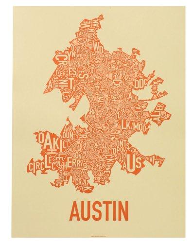 "Austin Neighborhoods Map, Tan & Orange, 18"" x 24"""