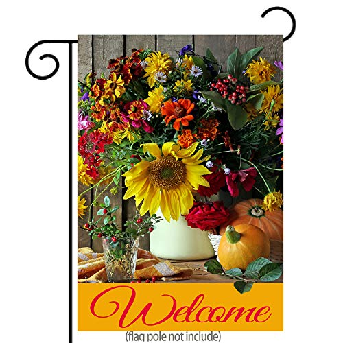 Welcome Fall Garden Flag Autumn Bouquet and Pimkins| Double-