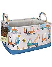 HUNRUNG Rectangle Storage Basket Cute Canvas Organizer Bin for Pet/Toys, Books, Clothes Perfect for Rooms/Playroom/Shelves