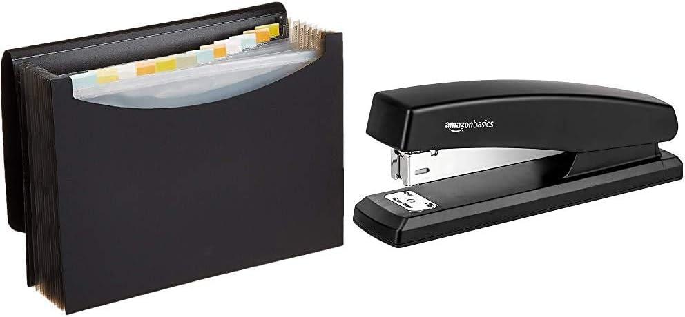 AmazonBasics Expanding Organizer File Folder, Letter Size - Black & 10-Sheet Capacity, Non-Slip, Office Stapler with 1000 Staples, Black