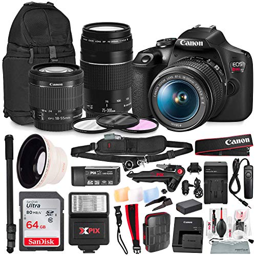 Canon T7 EOS Rebel DSLR Camera with 18-55mm and 75-300mm Lenses Kit with UV Filter Set + 62″ Monopod + Power Kit & 64GB SD Card Platinum Bundle