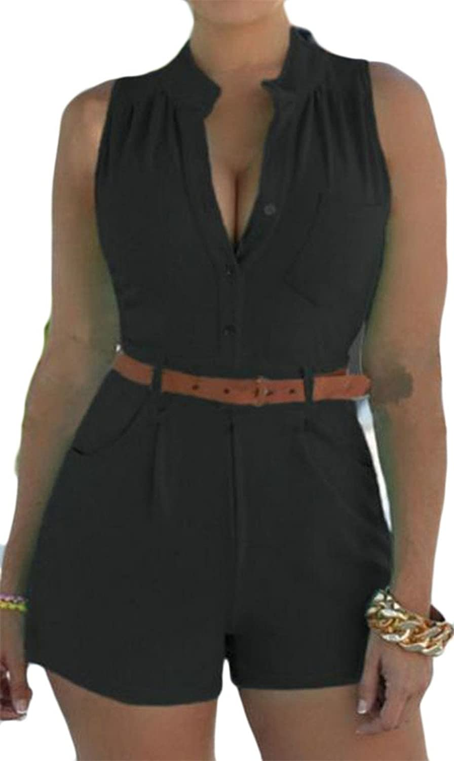 f25e833b882f Cromoncent Womens Summer Belt Pocket Sleeveless Short Playsuit Jumpsuits  Black US-XS