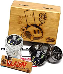 """Bong-Bomb Laser Etched Sacred Geometry Stash Box, 1.6"""" Zinc Alloy Grinder, Small Stash Jar - ALL IN ONE Box Package Item# WBCS111617-2"""