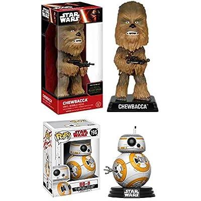 Funko POP! Star Wars: BB-8 (The Last Jedi) + Wacky Wobbler Chewbacca – Stylized Vinyl Bobble-Head Figure Set NEW